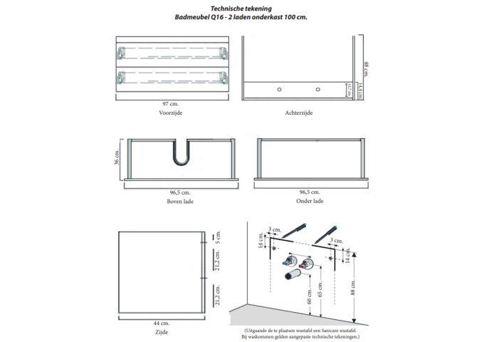 Badkamermeubelset Sanicare Q16 100 cm Schots-Eiken (spiegel optioneel)