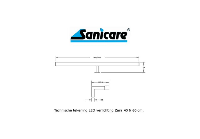 LED Spiegellamp Sanicare Zara 6 Watt 4000K  40 cm Chroom