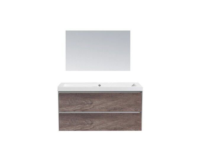 Badkamermeubel Sanilux PL 100 Greeploos Incl Spiegel En Wastafel Century Oak Multiplex 100x47x50 cm