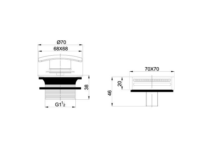 Badafvoerplug Set Boss & Wessing tbv Badoverloopcombinatie Met Vulfunctie Vierkant RVS