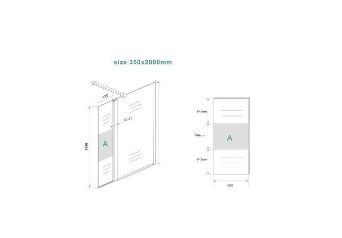 BWS Zijwand Met Scharnierprofiel Rechts En Middenband 35x200 cm 10mm NANO Coating