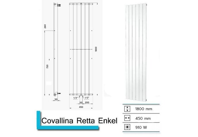 Handdoekradiator Covallina Retta Enkel 1800 x 450 mm Mat Wit