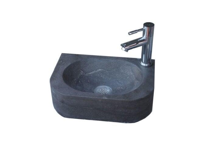 Fontein Sanilux Flow Hardsteen 35x24x10cm Rechthoek met kraangat Rechts