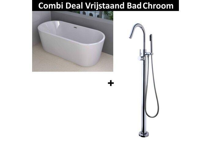 Combi Deal Vrijstaand Ligbad Libero 178x80 cm Chroom