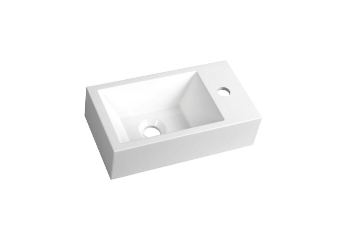 Fontein Sapho Amarok Rechthoekig 40x22 cm Rechts Cast Marble Wit