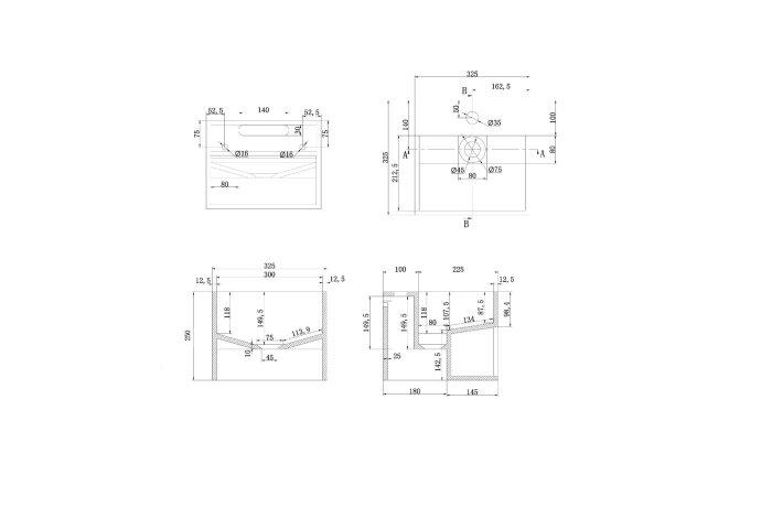 Solid Surface Fonteintafel Vierkant met Schap 32,5x32,5x25 cm Mat Wit