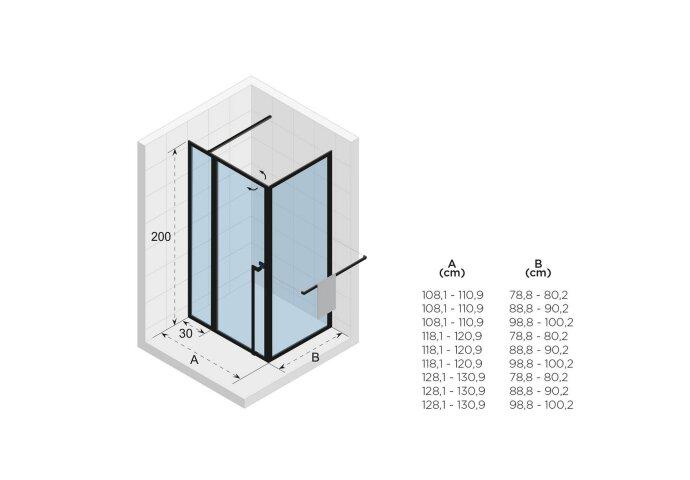 Douchecabine Riho Lucid XL GD203 Omkeerbaar Verstelbaar Aluminium 200x110x80 cm Mat Wit
