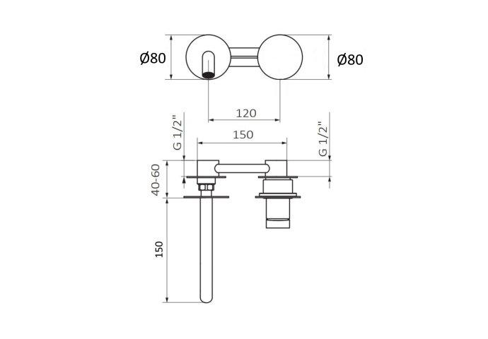 Inbouw Wastafelkraan GRB Aura zonder Clickwaste 15 cm Mat Chroom