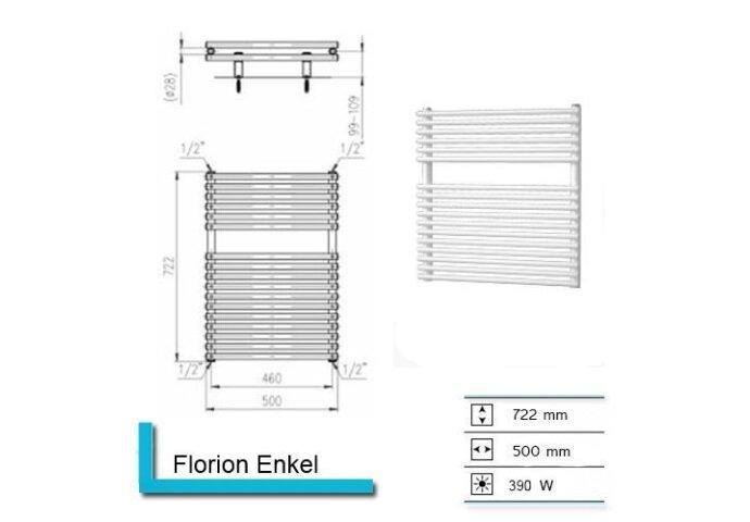 Handdoekradiator Florion Enkel 722 x 500 mm Donker grijs structuur