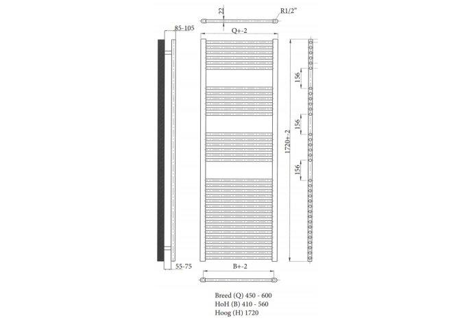 Designradiator Sanicare Standaard Recht Inclusief Ophanging 172x60 cm (alle kleuren)