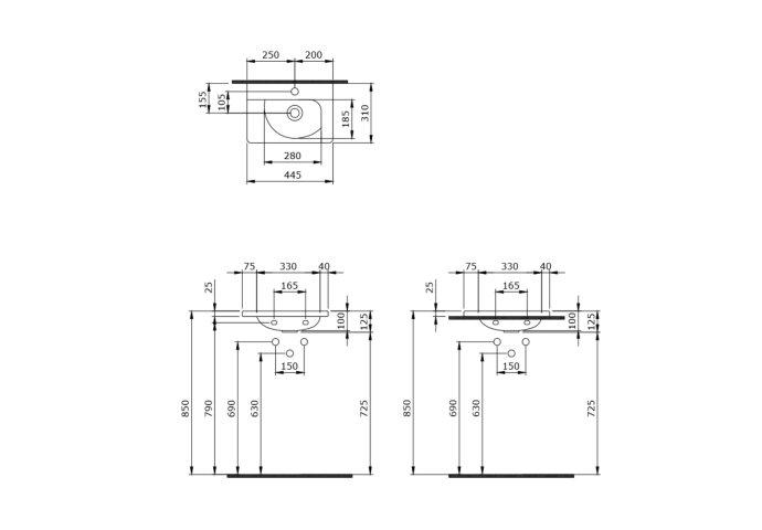 Fontein Creavit 44,5x31x12,5 cm Inclusief 1 Kraangat (alle kleuren)