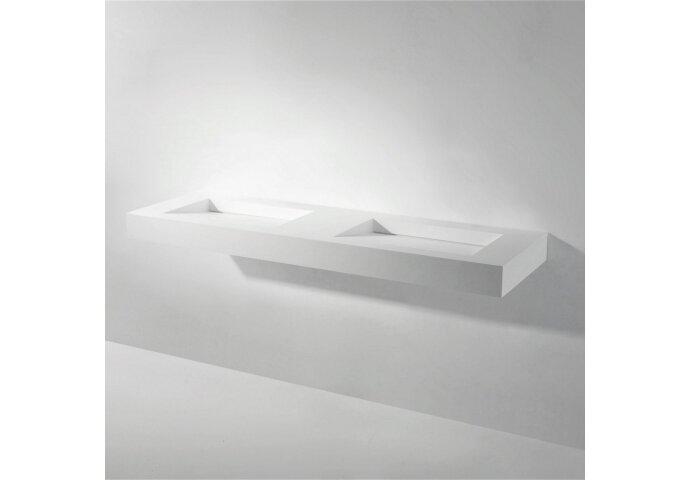 Wastafel Dubbel Ideavit Solidsquare 150x46x10 cm Solid Surface Mat Wit