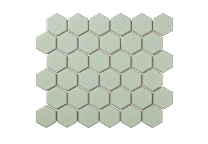 Mozaïektegel The Mosaic Factory Barcelona Hexagon 51x59 mm Porselein Lichtgroen