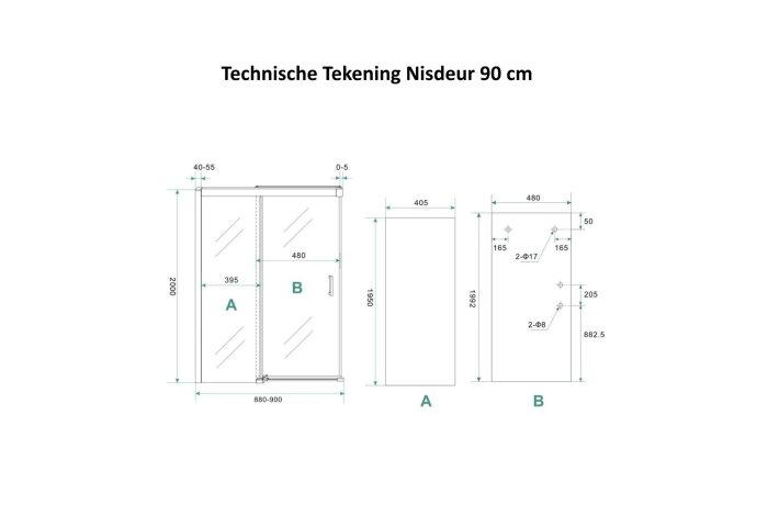 BWS Douchecabine Softclose 2.0 90 cm met Nisdeur en Zijwand 8mm Aluminium NANO Coating (alle varianten)