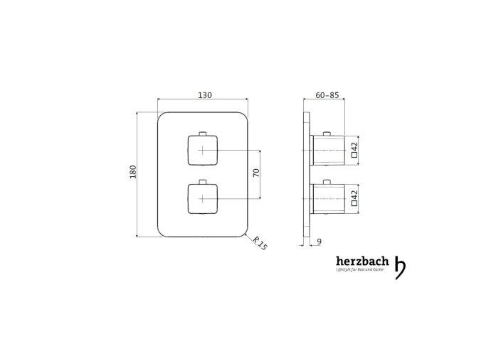 Inbouw Thermostaatkraan Herzbach Living Rechthoek 2-Weg Omstel Chroom (afgeronde hoeken)