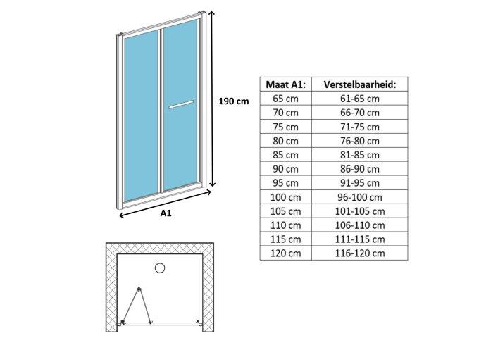Vouwdeur Lacus Ponza Helder Glas 6mm Chroom Aluminium Profiel Chroom (alle maten)