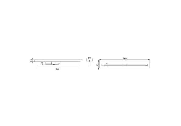 Douchegoot Boss & Wessing Lusso 60 cm RVS Mat Zwart