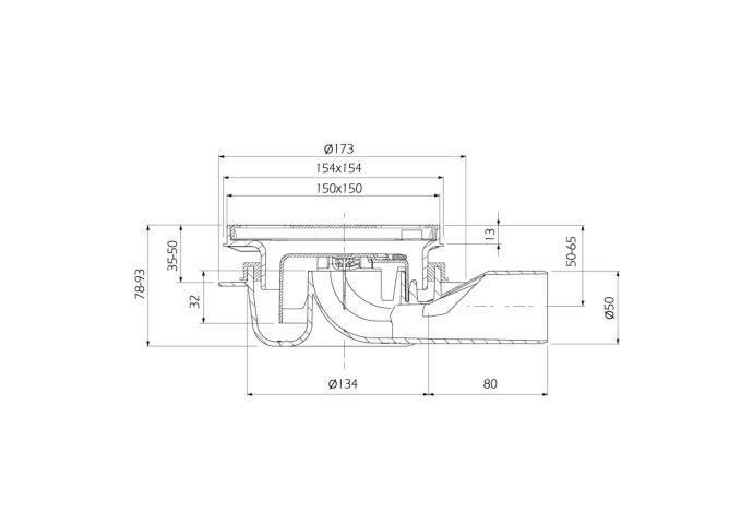 Doucheput Kunststof Aquaberg met Zijaansluiting 50mm 15x15cm met Reukslot 32mm RVS Rooster