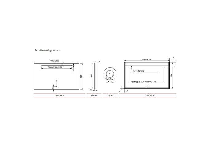 Badkamerspiegel Xenz Bardolino 80x70 cm met Ledverlichting en Spiegelverwarming