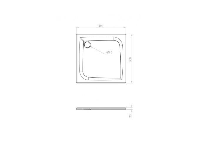 Douchebak Allibert Jacana Vierkant 80x80x3 cm Vierkant Bioplax Hoogglans Wit