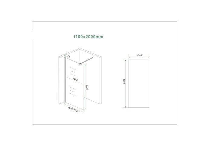 BWS Inloopdouche Pro Line Middenband 110x200 Mat Wit Profiel en Stabilisatiestang