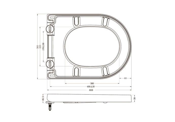 Zitting Wiesbaden Vesta soft-close tbv wandcloset 52cm Wit