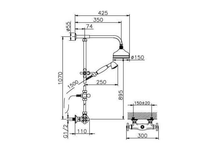 Huber Croisette Thermostatische Doucheset Chroom 390CS01HCR