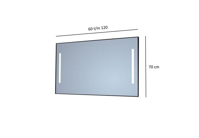 Badkamerspiegel Sanicare Q-Mirrors Twee Verticale Banen 'Warm White' LED-Verlichting (alle kleuren, alle maten)
