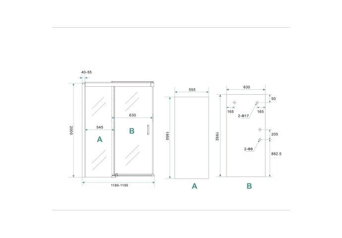 BWS Nisdeur Softclose 2.0 Douchedeur 120x200 cm 8mm Aluminium NANO Coating