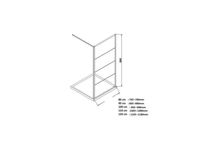 BWS Inloopdouche Frame 130x200 cm 8mm NANO Glas Mat Zwart Raster