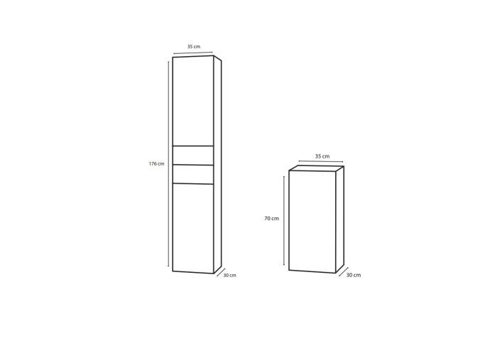 Badkamerkast Differnz Style 30x35x176 cm Antraciet (Rechts)