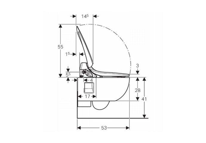 Douche Wc Geberit Aquaclean 4000 Met Closet Model 1 Compleet met Wateraansluiting Wit