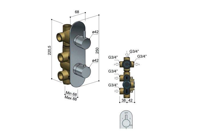 Douchekraan Hotbath Buddy Inbouw 3-weg Verticaal Chroom