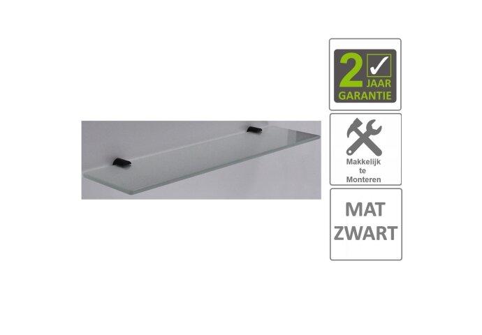 BWS Planchet Mia Glas Bevestigingspunten Mat Zwart