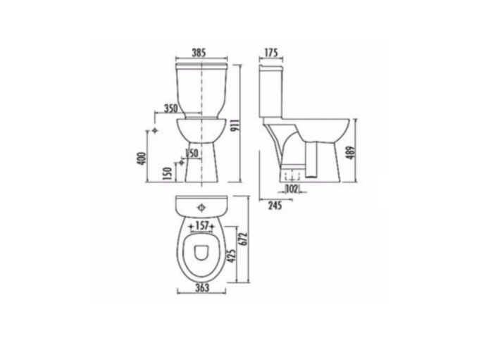 Toiletpot Staand Verhoogd +8.9 cm Wit Compleet