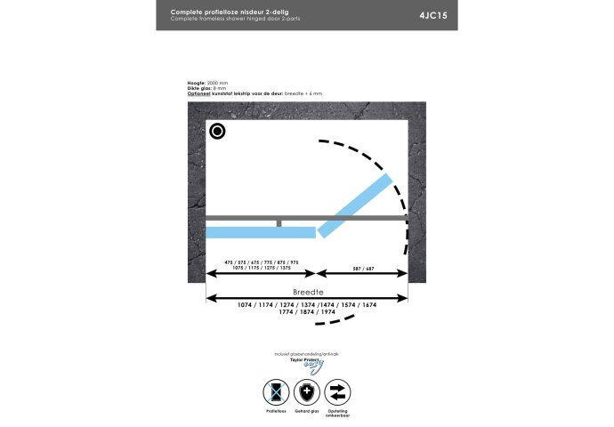 Complete Profielloze Nisdeur 2-delig 200 Inloopwand 130cm Draaideur 70cm Chroom