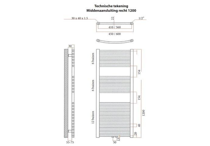 Designradiator Sanicare Middenaansluiting Recht Inclusief Ophanging 120x60 (alle kleuren)