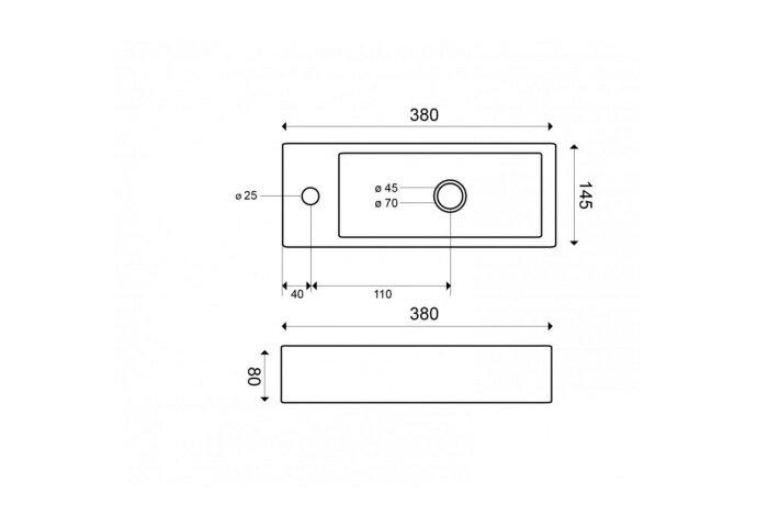 BWS Keramische Fontein Mini 38x14.5x8 cm (Kraangat Links)