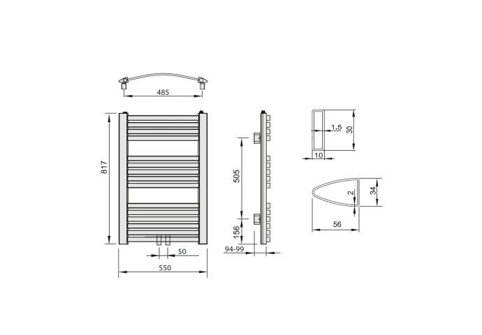 Handdoekradiator Sapho Aqualine Gebogen 55x81.7 cm Wit