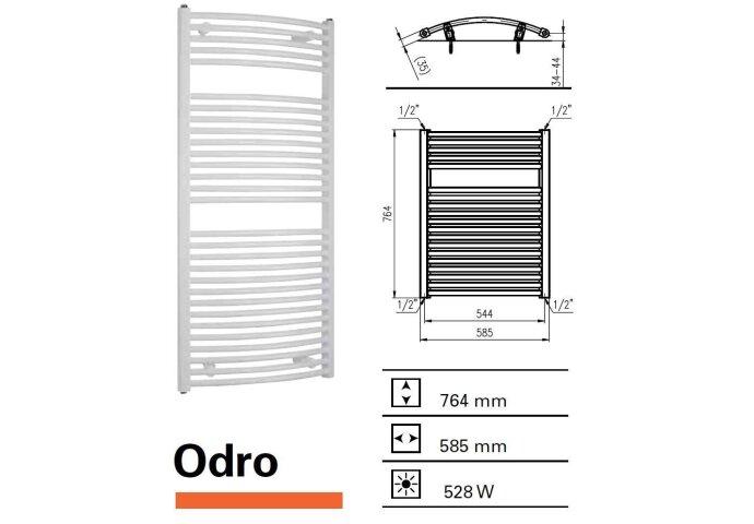 Handdoekradiator Odro gebogen 764 x 585 mm Donker grijs structuur