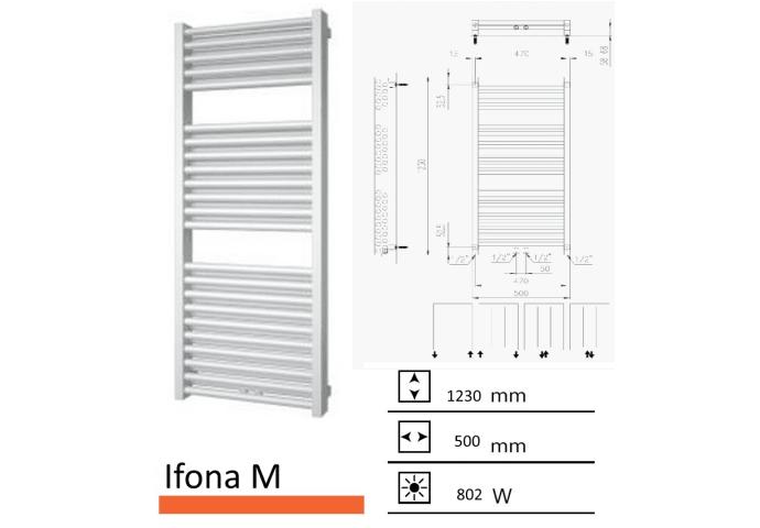 Badkamerradiator Ifona M 1230 x 500 mm Zilver metallic
