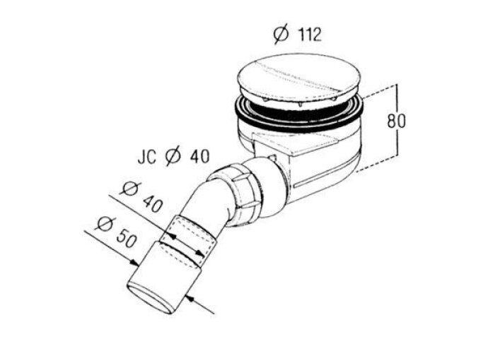 Turboflow douchebaksifon voor gat 90mm chroom