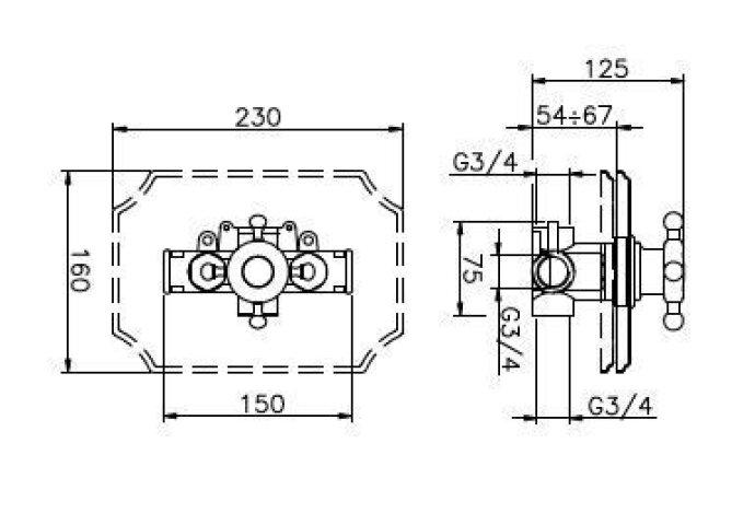 Huber Victorian inbouw thermostaatkraan Chroom/Goud 255.51H.CA