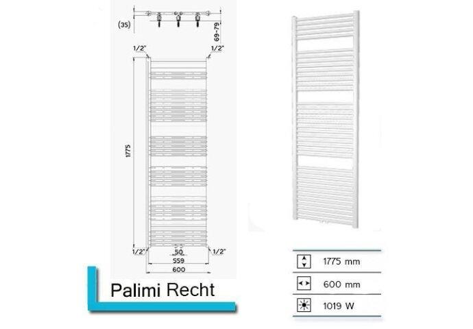 Handdoekradiator Palimi Recht 1775 x 600 mm Antrciet metallic