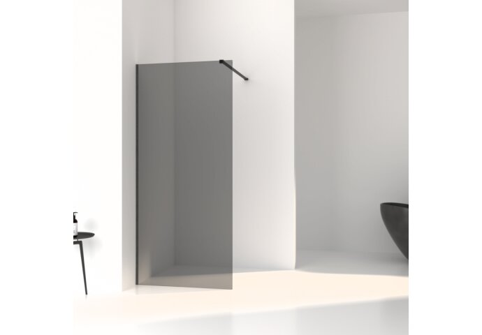 Inloopdouche Boss & Wessing Slim Rookglas Anti-Kalk Coating Black Brushed Profiel (alle maten)