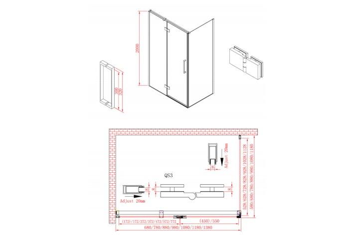 Douchedeur Boss & Wessing P&C Design 200x90 cm RVS Look
