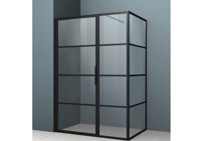 Douchecabine Driedelig Lacus Tremiti 70 6mm Helder Glas Mat Zwart Aluminium Profiel