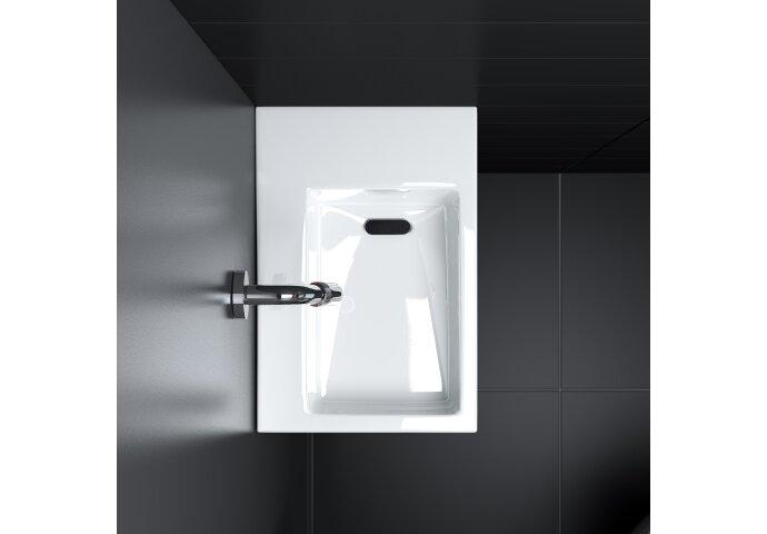 Fontein Clou Flush 2 36x24.5x9cm Aluite Mat Wit (Met Voorbewerkt Kraangat Rechts)