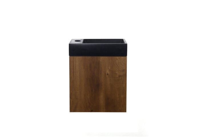 Fonteinmeubel Allibert Java Pack 1 Deur Omkeerbaar Polybeton Eiken Bruin 40x48,6x25 cm