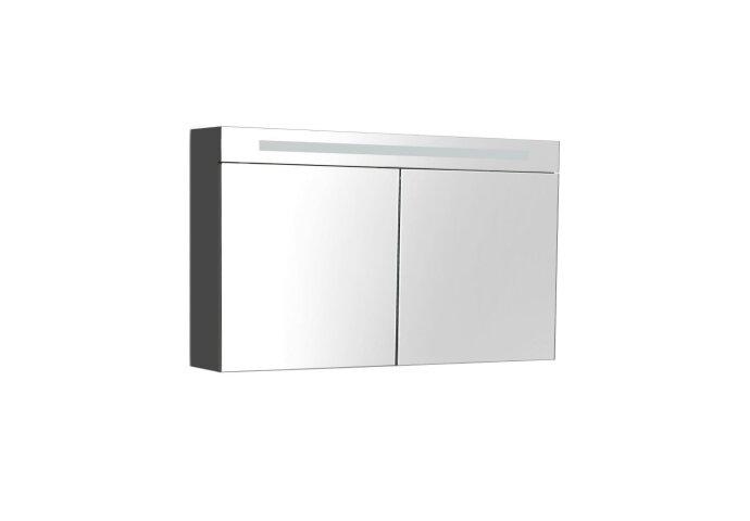 Spiegelkast Sanilux Deluxe 120x70x16cm met TL verlichting en stopcontact Hoogglans antraciet